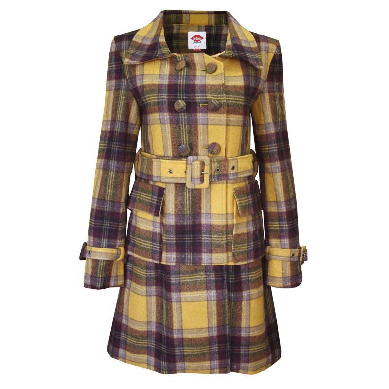 Lee Cooper Check Wool Coat Ladies Yellow/Brown