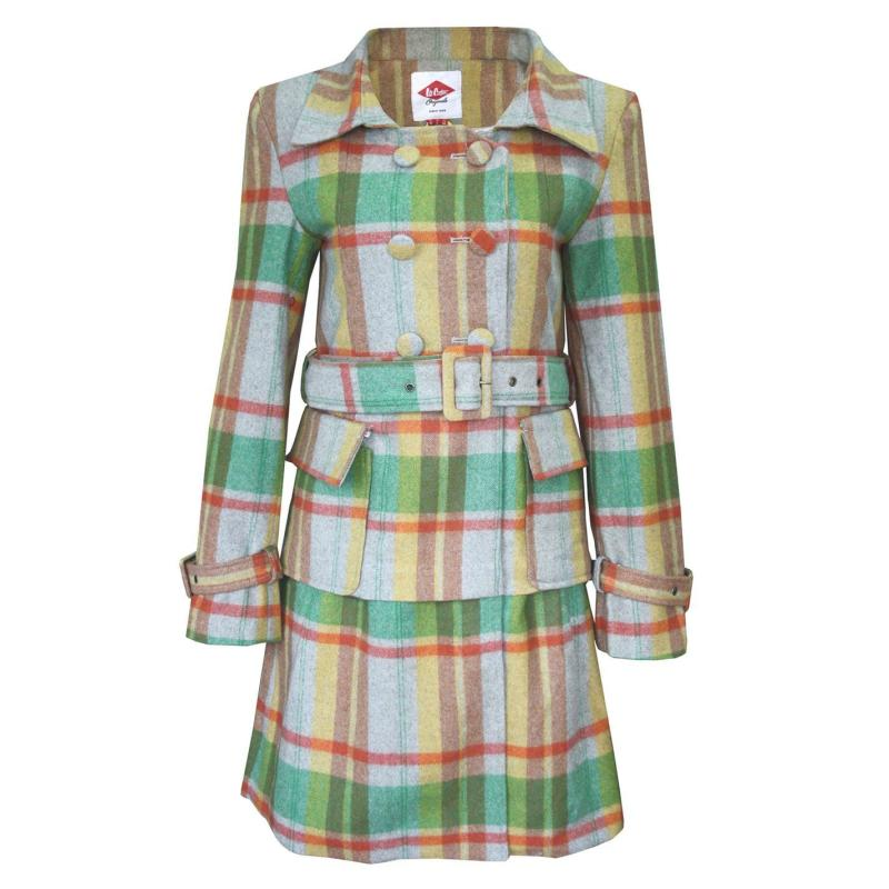 Lee Cooper Check Wool Coat Ladies Grey/Tan