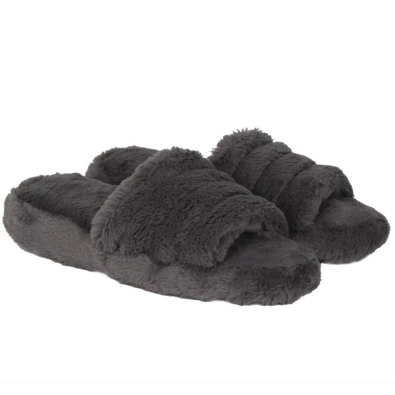 Miso Fur Sliders Ladies Grey