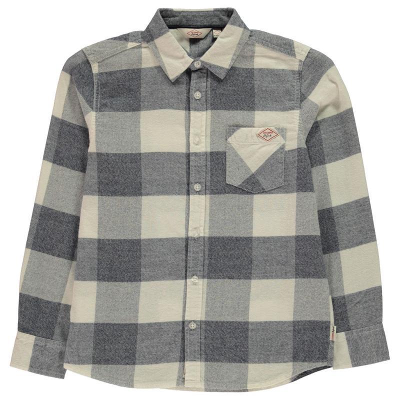 Košile Lee Cooper Check Long Sleeve Shirt Junior Boys White/Blue