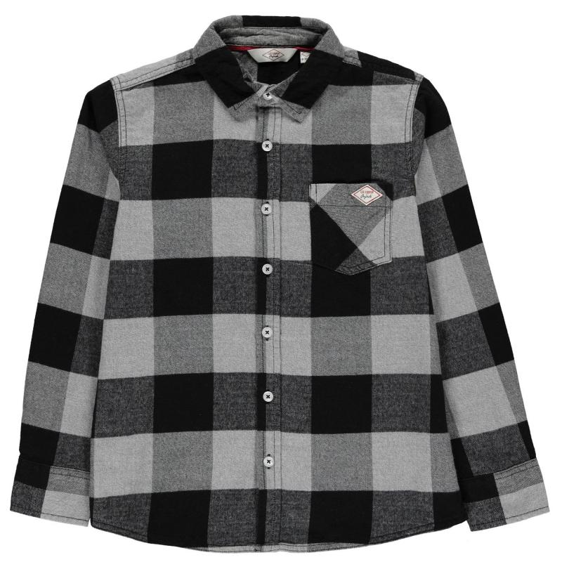 Košile Lee Cooper Check Long Sleeve Shirt Junior Boys Black Check