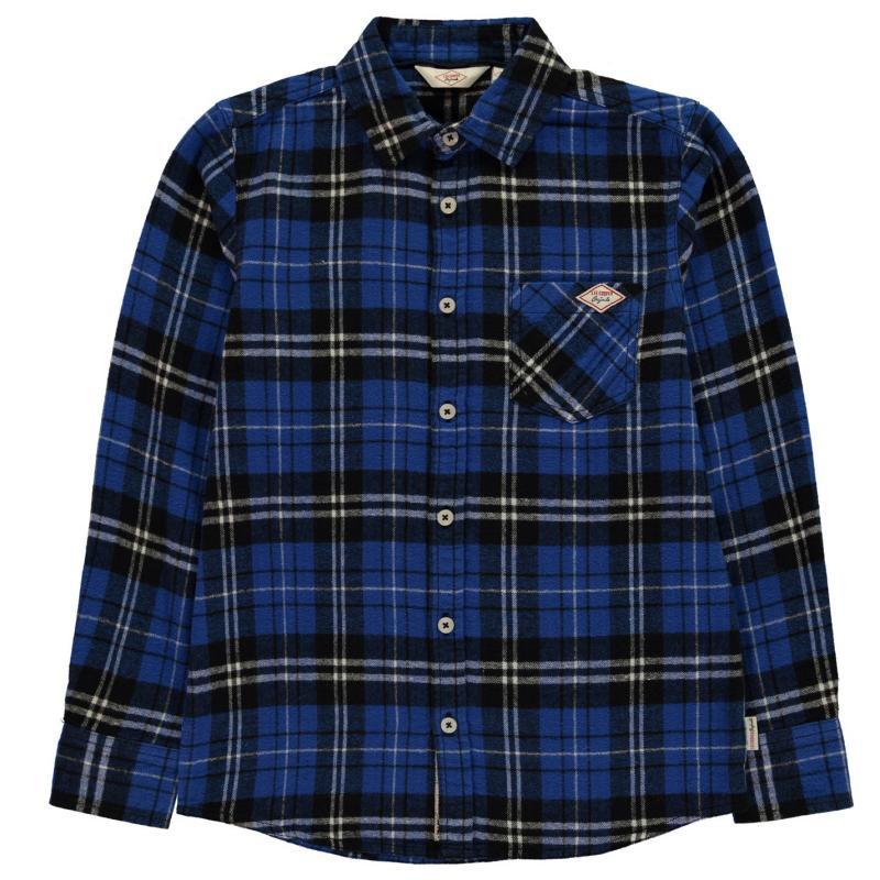 Košile Lee Cooper Flannel Shirt Junior Boys Blue/Black Chk