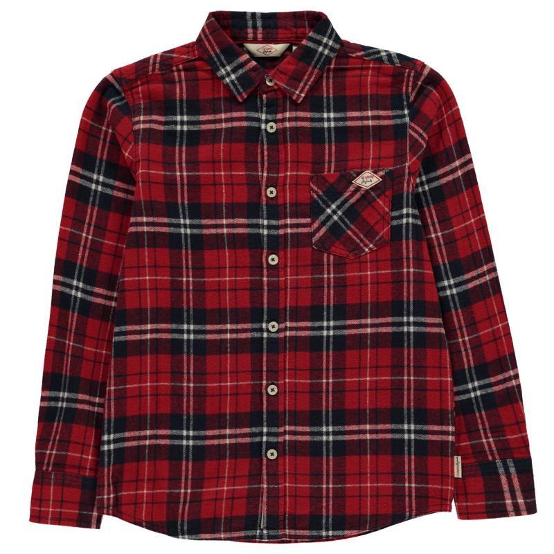 Košile Lee Cooper Flannel Shirt Junior Boys Burgundy Check