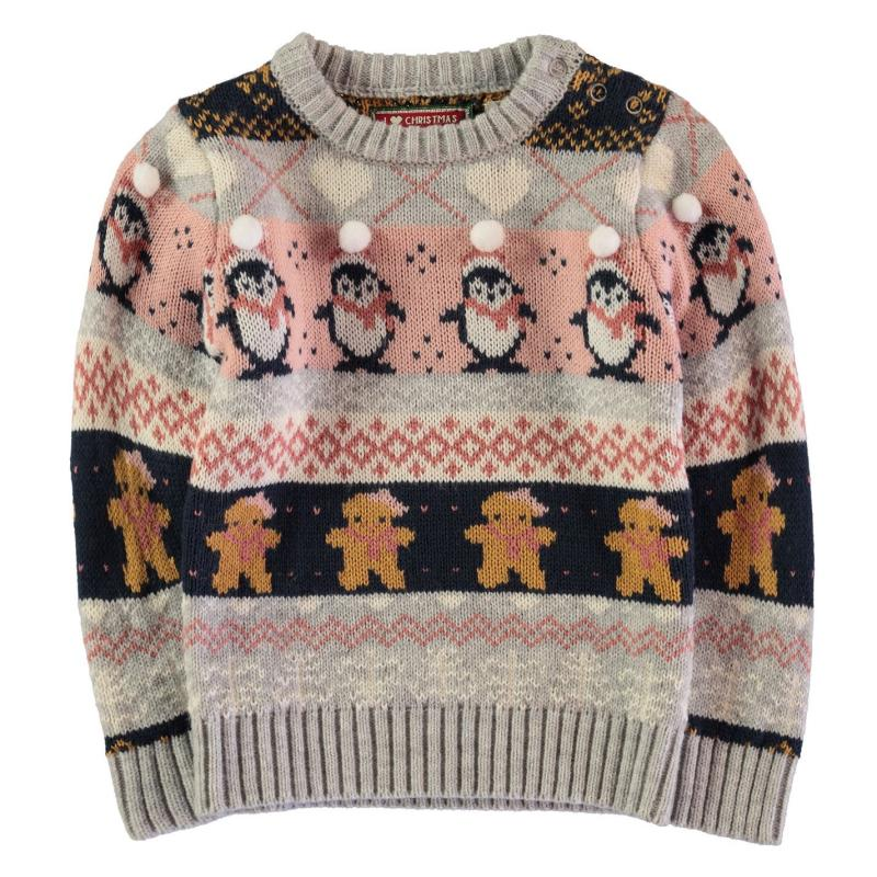 Star Christmas Knit Infant Girls GB Pom Fairisle