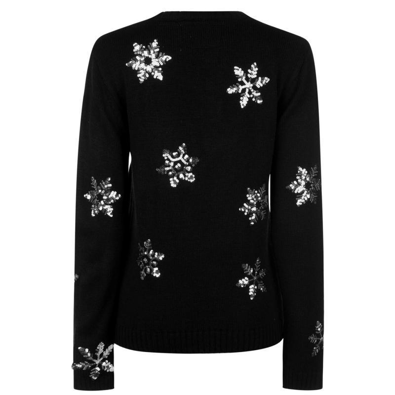 Svetr Star Christmas Knit Jumper Ladies Black Snowflake