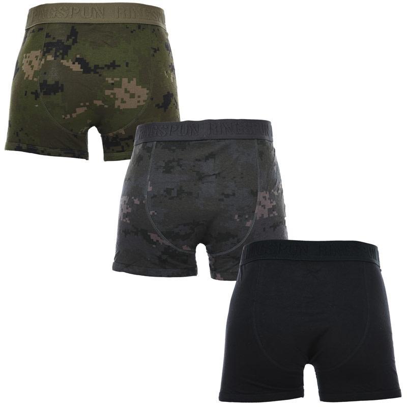 Spodní prádlo Ringspun Mens 3 Pack Emmat Boxer Shorts Black