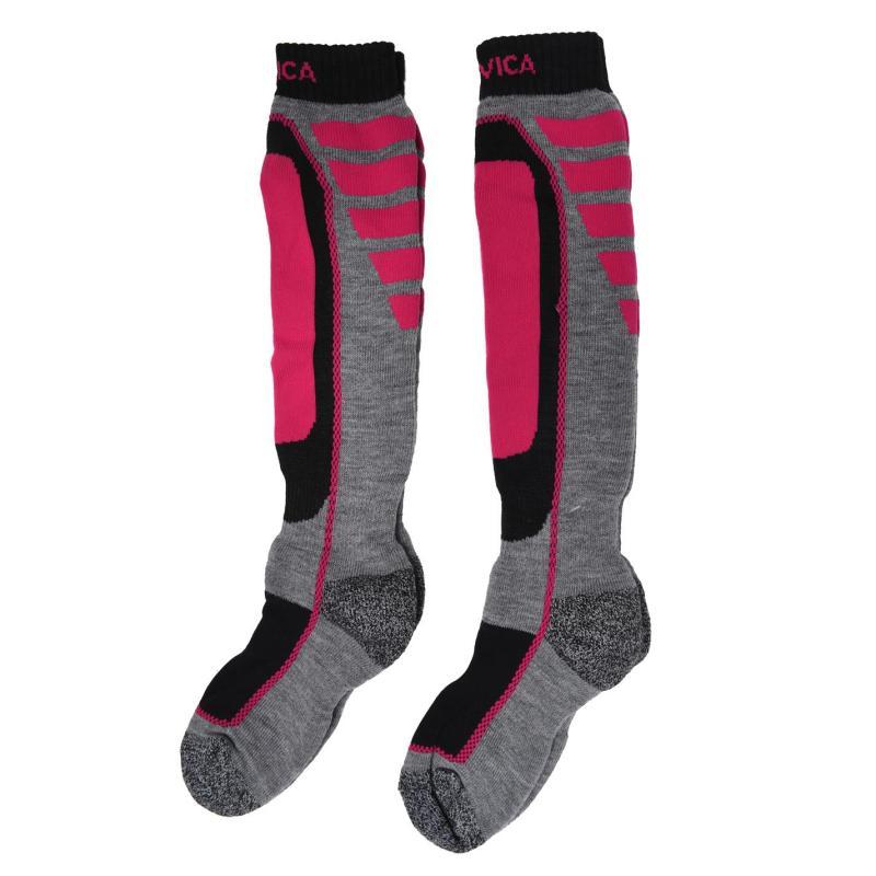 Nevica Meribel 2 Pack Ski Socks Juniors Pink/Grey