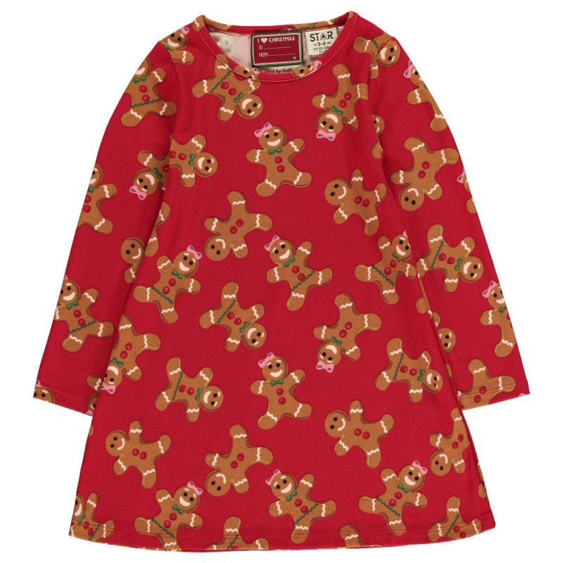 Šaty Star Christmas Printed Dress Infant Girls G/Bread AOP