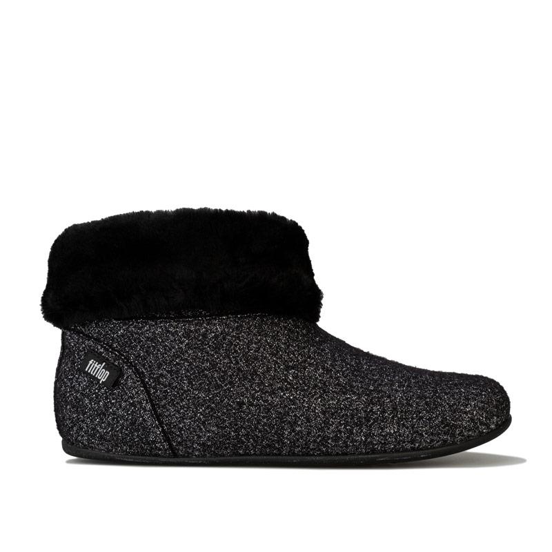 Fit Flop Womens Sarah Shearling Glimmer Bootie Slippers Black
