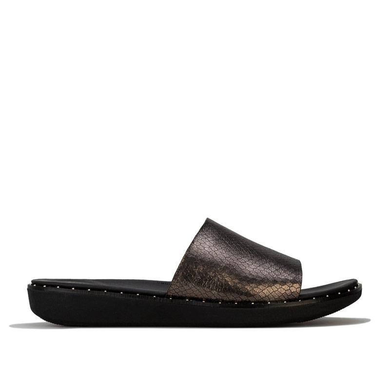 Boty Fit Flop Womens Sola Metallic Snake Slide Sandals Black