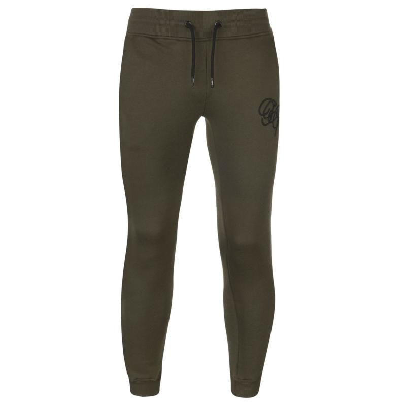 Tepláky Fabric Embroidered Tapered Jogging Bottoms Khaki