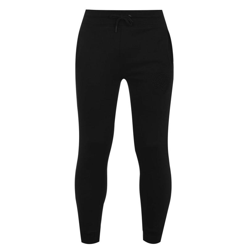 Tepláky Fabric Embroidered Tapered Jogging Bottoms Black