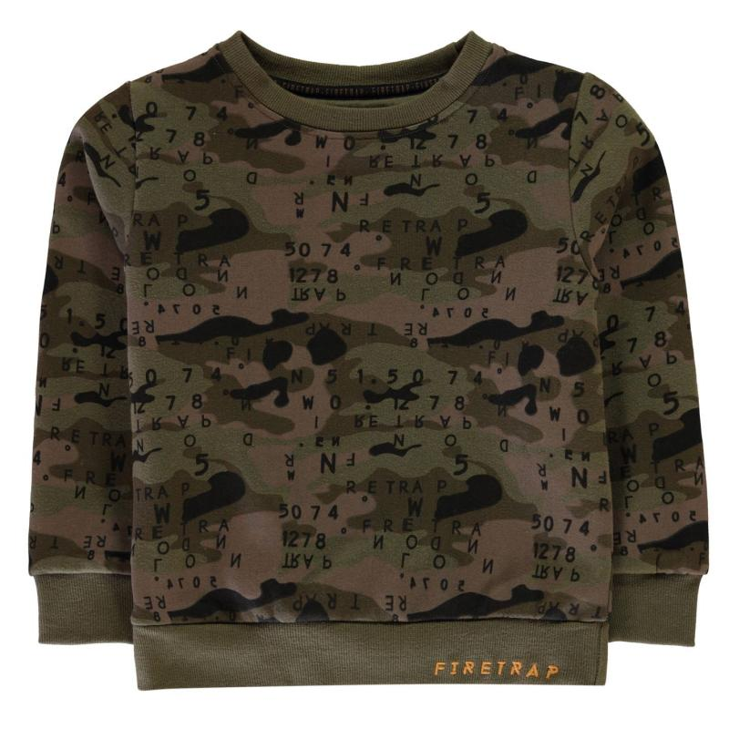 Mikina Firetrap Crew Sweatshirt Black Camo