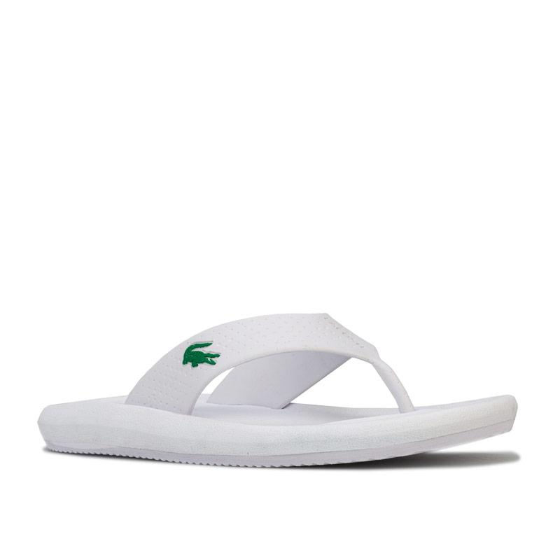 Boty Lacoste Womens Croco Toe Post Sandals White Green