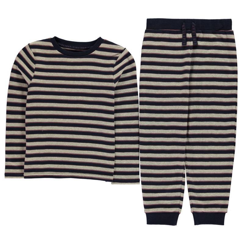 Pyžamo Firetrap Pyjama set Grey Stripe