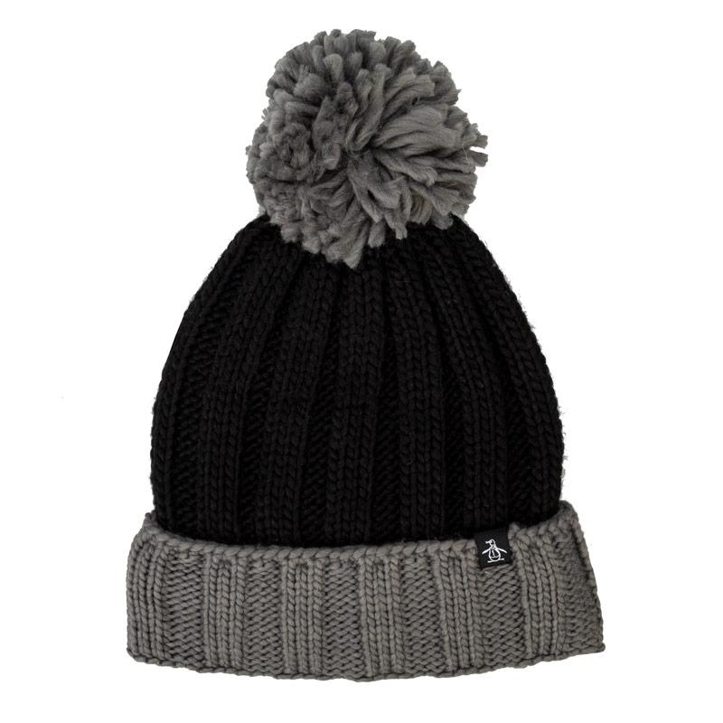 Original Penguin Mens Hills Bobble Hat Grey black