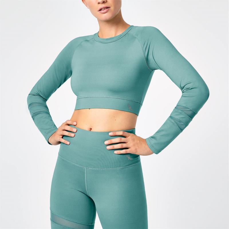 Tričko SportFX Gabby Allen Long Sleeve Crop Top Green