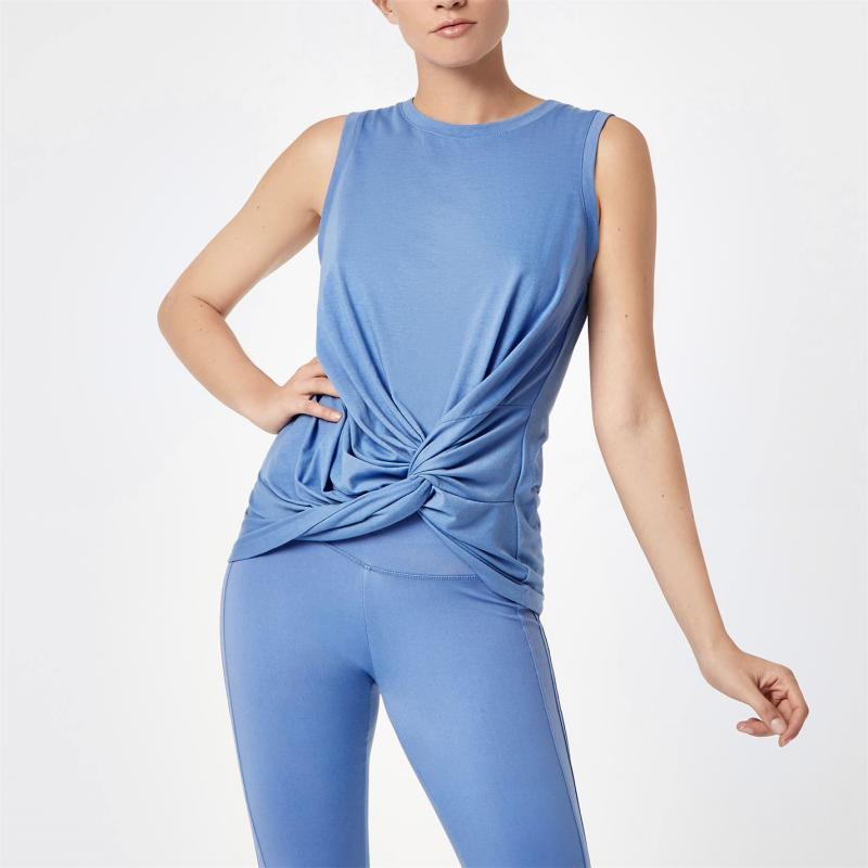 SportFX Gabby Allen Muscle Vest Blue Knotted