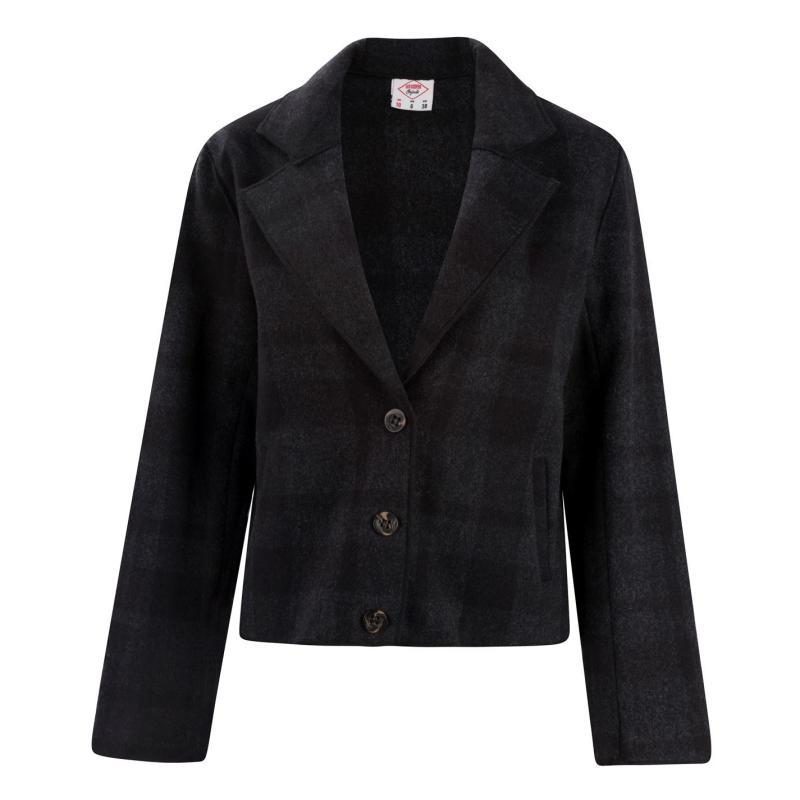 Lee Cooper Wool Blend Jacket Ladies Blk/Chk