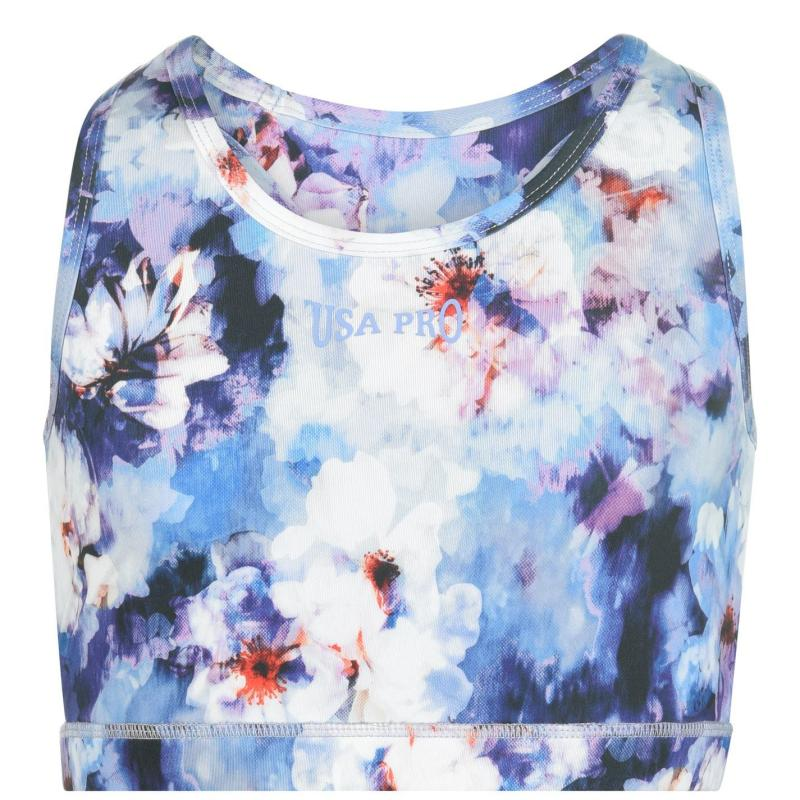USA Pro Fitness Crop Top Junior Girls W/Col Floral