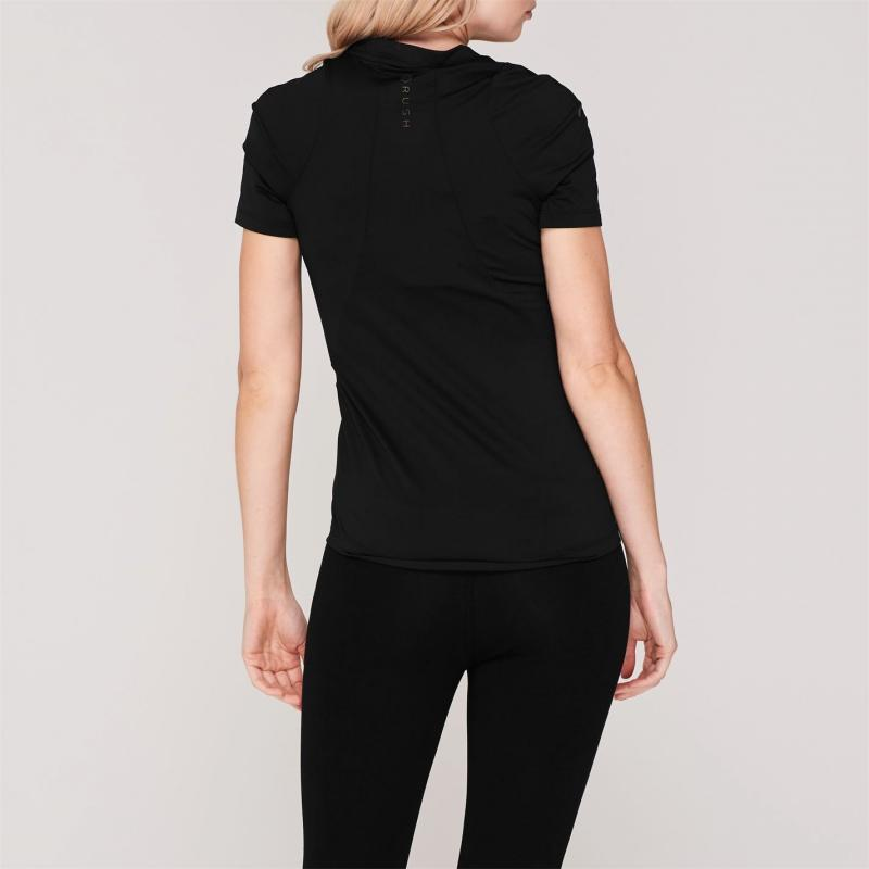 Under Armour Rush Short Sleeve T Shirt Ladies Black