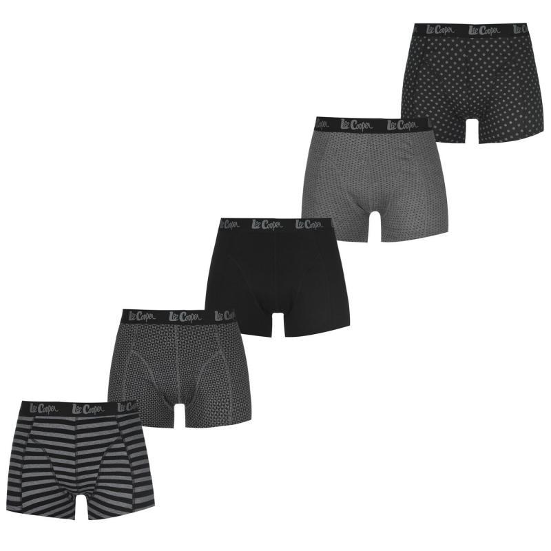 Spodní prádlo Lee Cooper 5 Pack Printed Boxer Shorts Mens Black