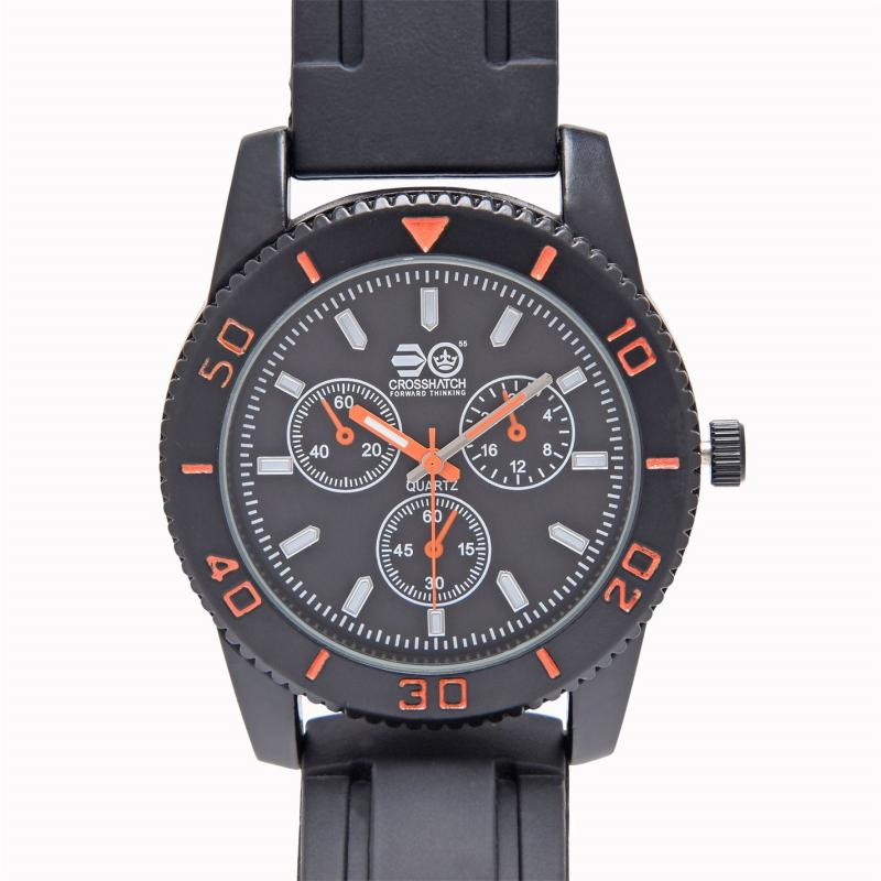 Crosshatch Quartz Rubber Strap Watch Mens Black
