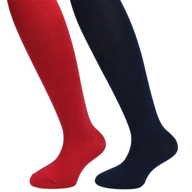 Crafted Essentials 2 Pack Dress Tights Child Girls Red/Navy Solid