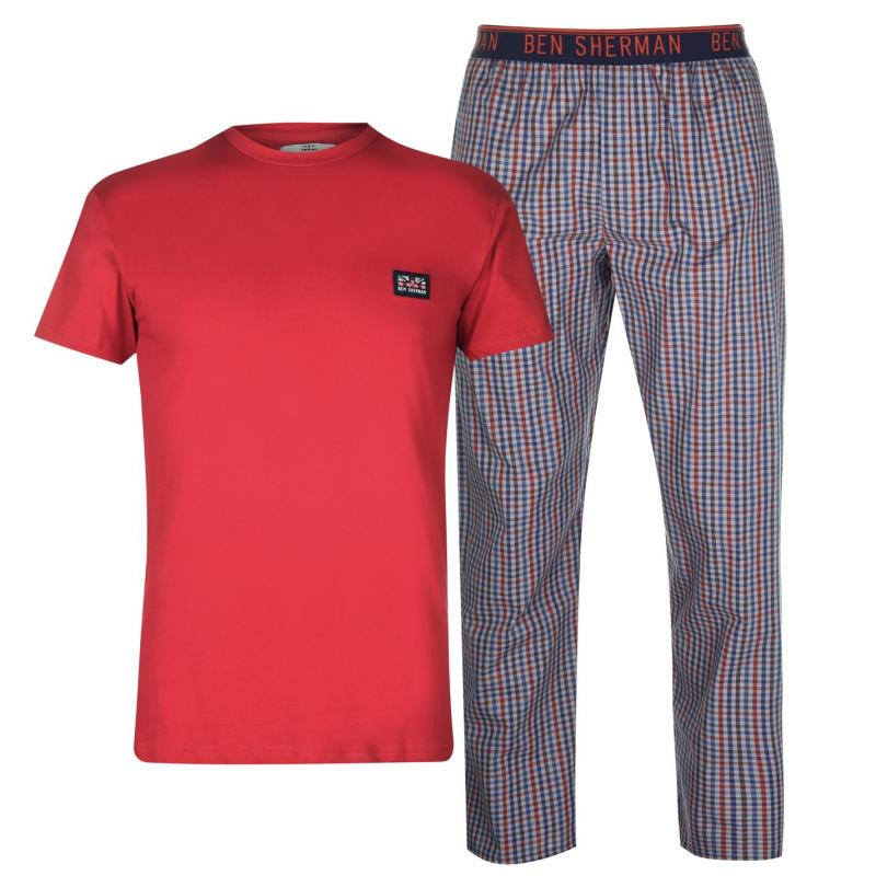 Pyžamo Ben Sherman Sherman Pyjama Gift Set Mens Red/Check