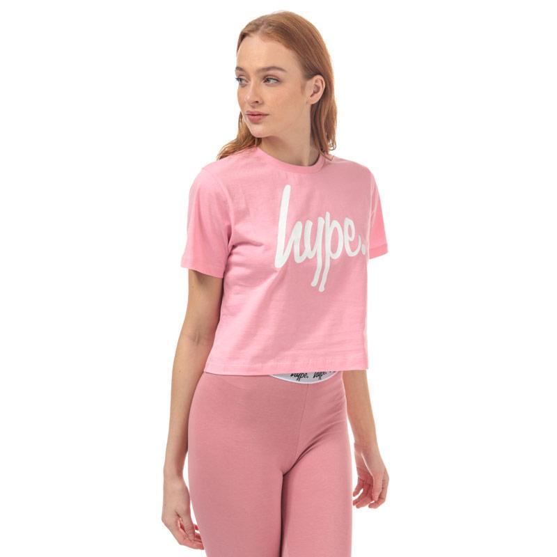 Hype Womens Script Crop T-Shirt Pink