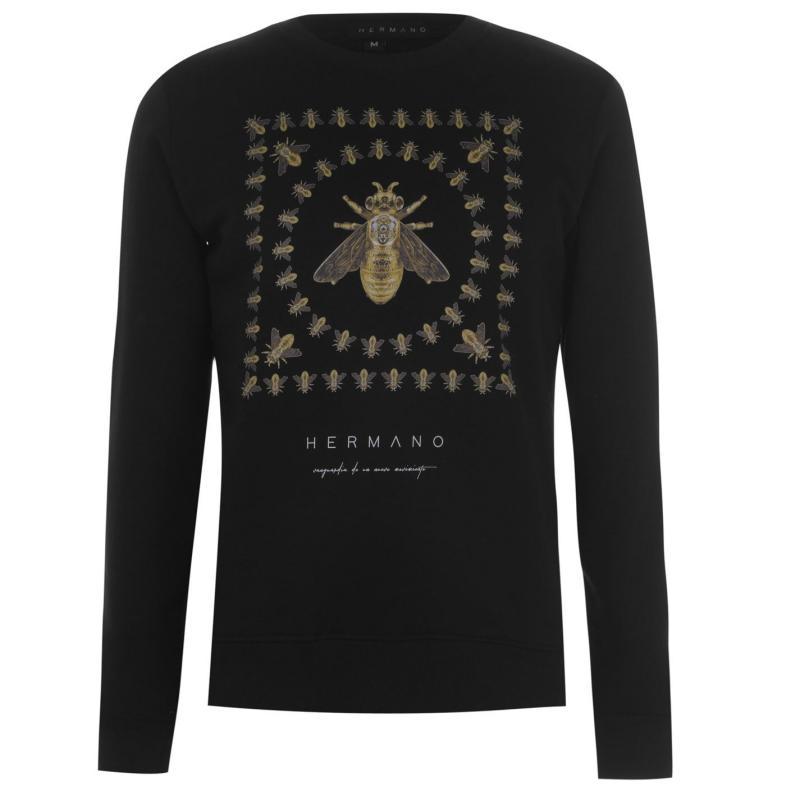 Mikina Hermano Mens Printed Sweater Black Bee