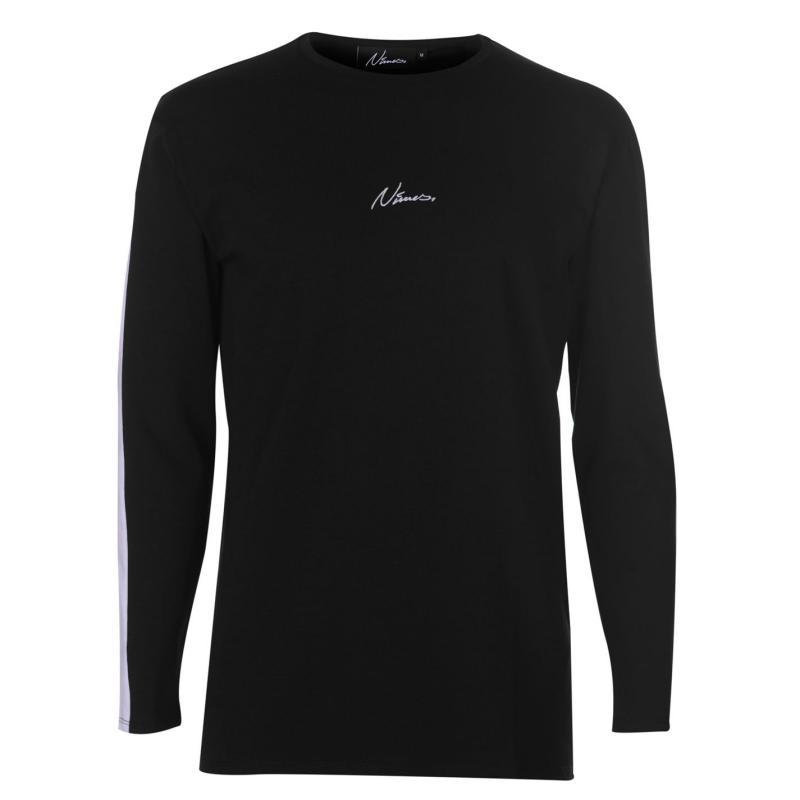 Tričko Nimes Stripe Long Sleeve T Shirt Mens Black/White