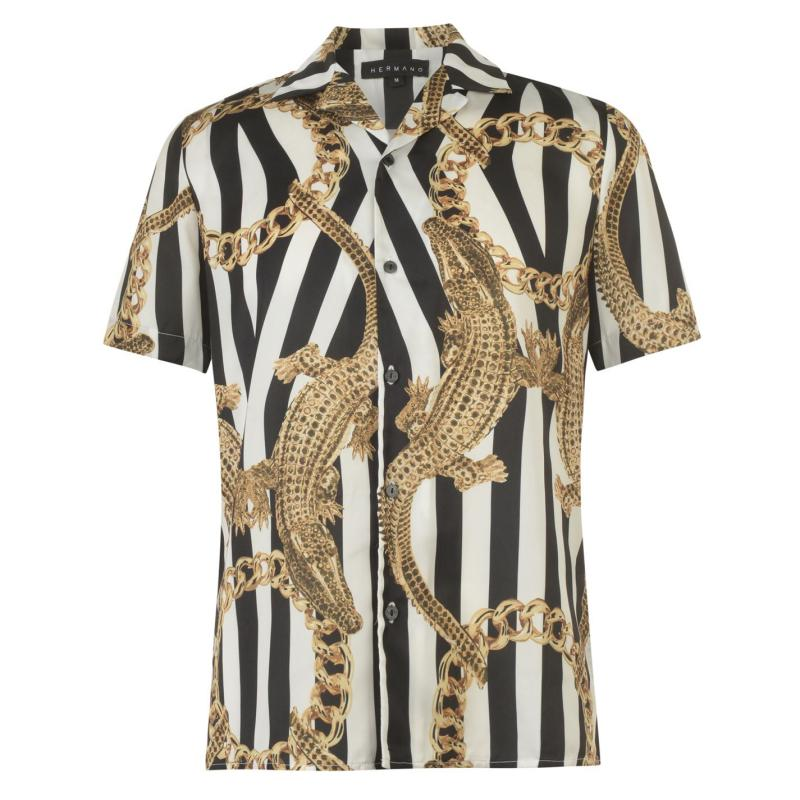Hermano Short Sleeve Shirt Crocodile/Black