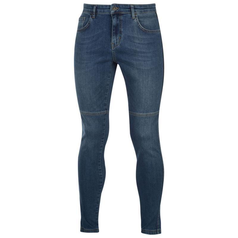 Nimes Tape Skinny Jeans Mens Mid Blue Wash