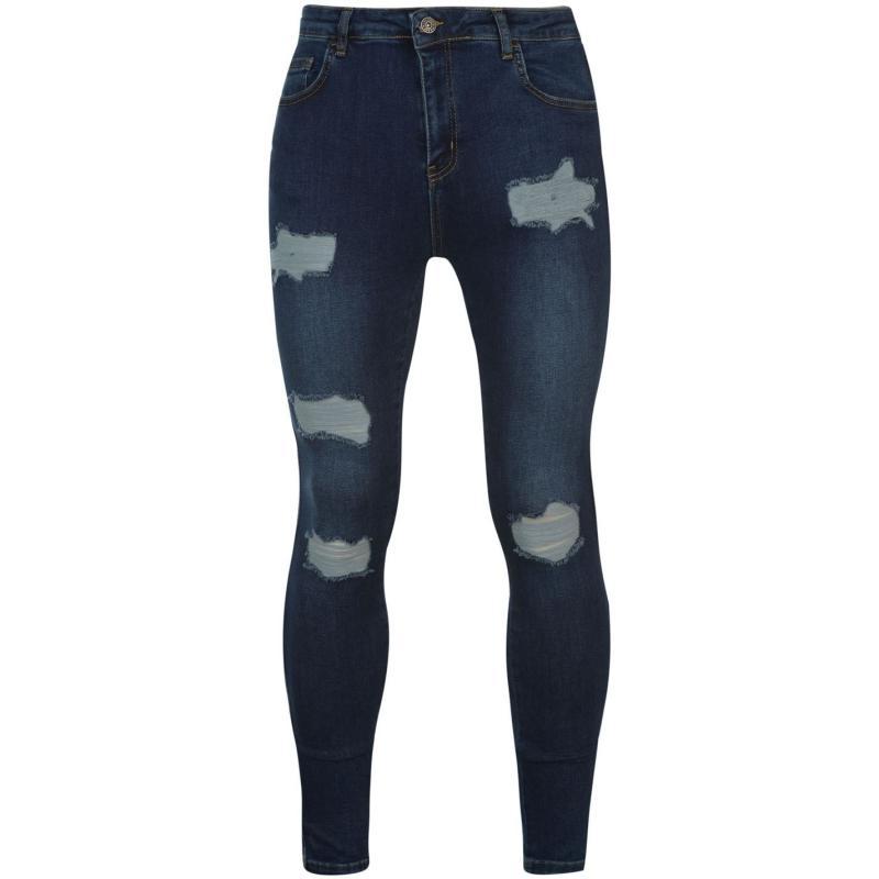 Nimes X Distress Skinny Jeans Mens Mid Blue Wash