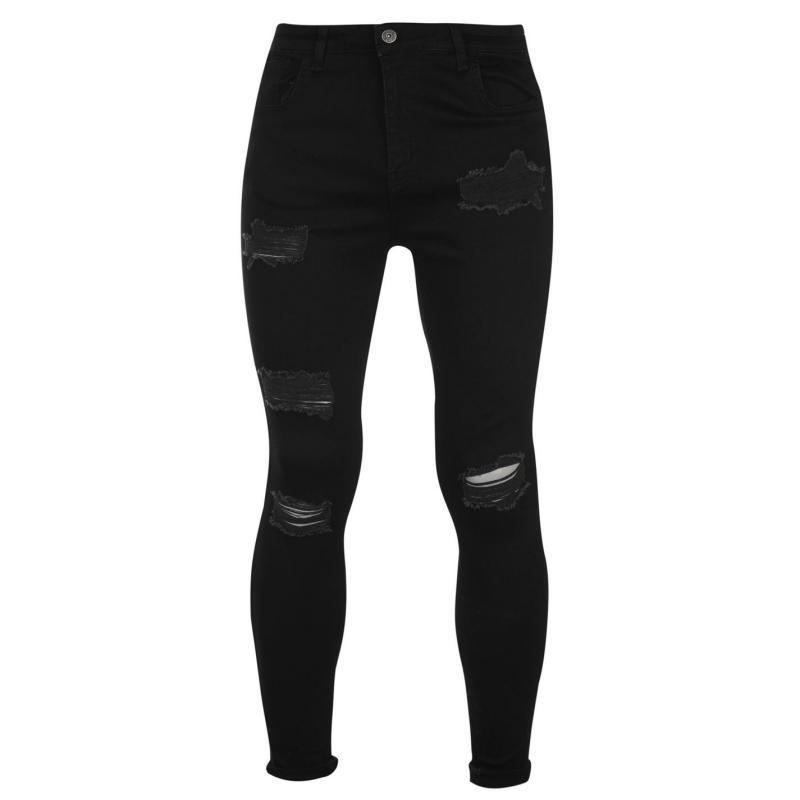 Nimes X Distress Skinny Jeans Mens Jet Black