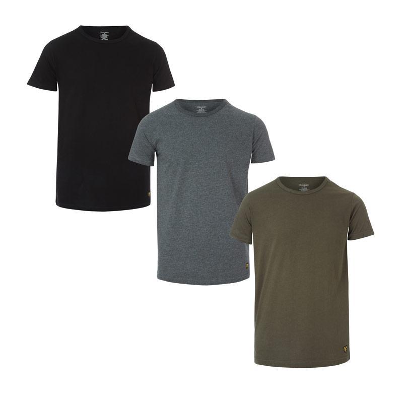 Tričko Lyle And Scott Mens Maxwell 3 Pack Lounge T-Shirts Green black