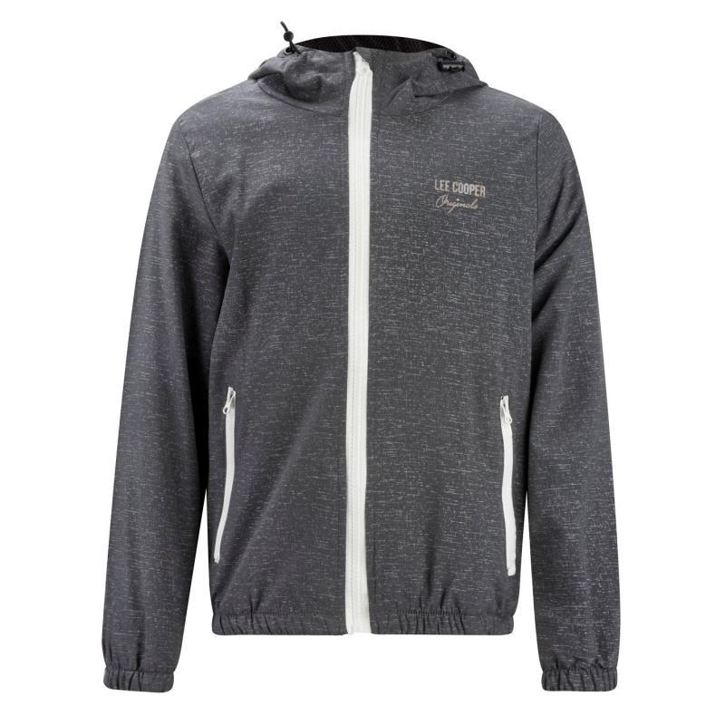 Bunda Lee Cooper Print Hooded Jacket Junior Grey