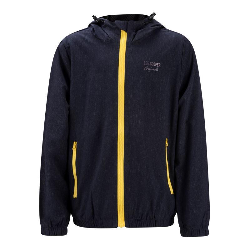 Bunda Lee Cooper Print Hooded Jacket Junior Navy