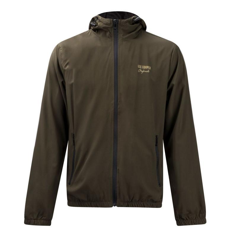 Mikina Lee Cooper Print Hooded Jacket Mens Khaki