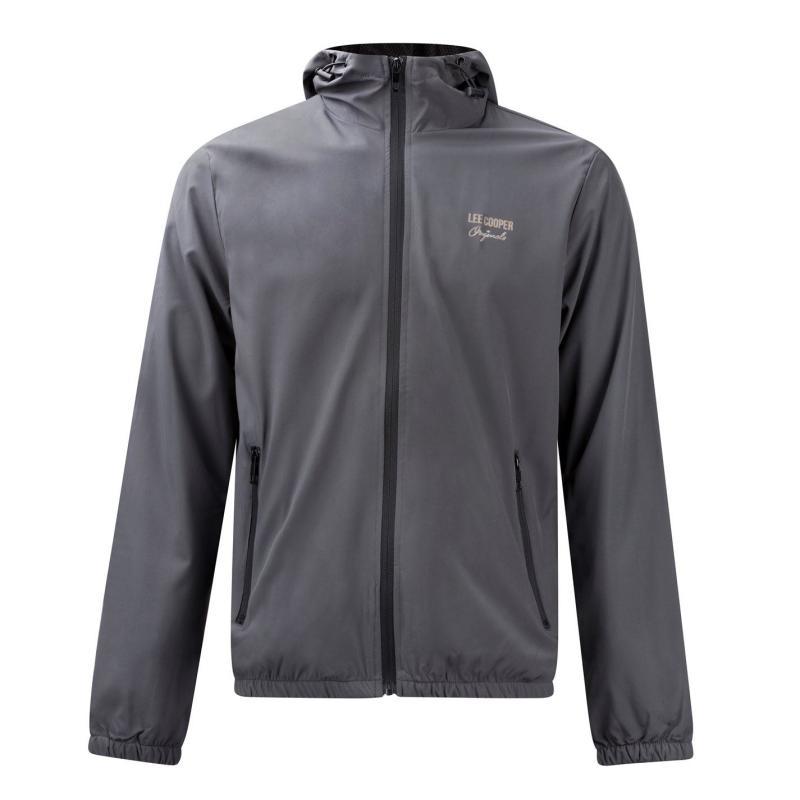 Mikina Lee Cooper Print Hooded Jacket Mens Grey