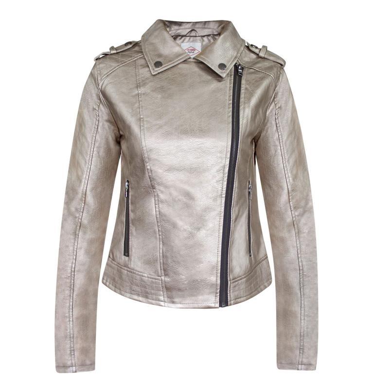Lee Cooper Zip PU Jacket Ladies Gold