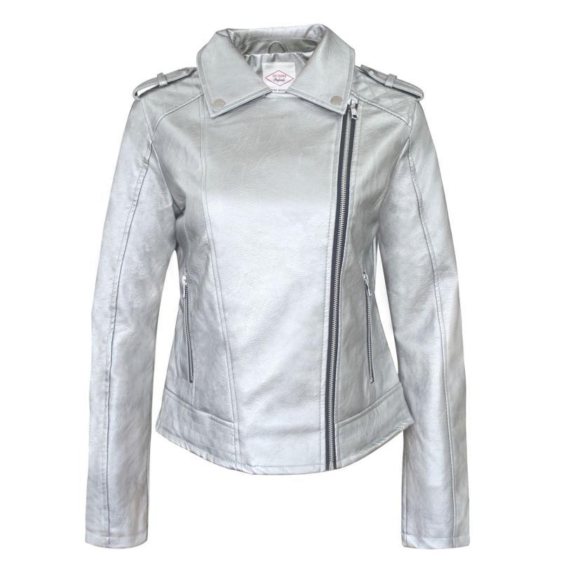 Lee Cooper Zip PU Jacket Ladies Silver
