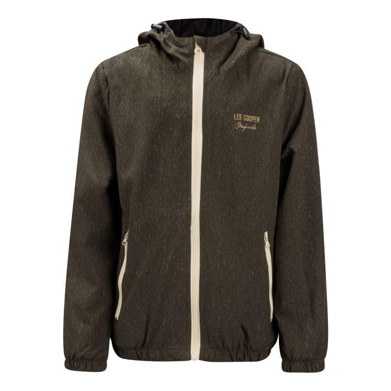Bunda Lee Cooper Print Hooded Jacket Junior Khaki