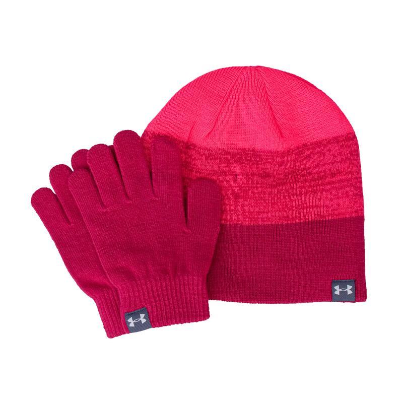 Under Armour Girls Beanie and Glove Set Pink