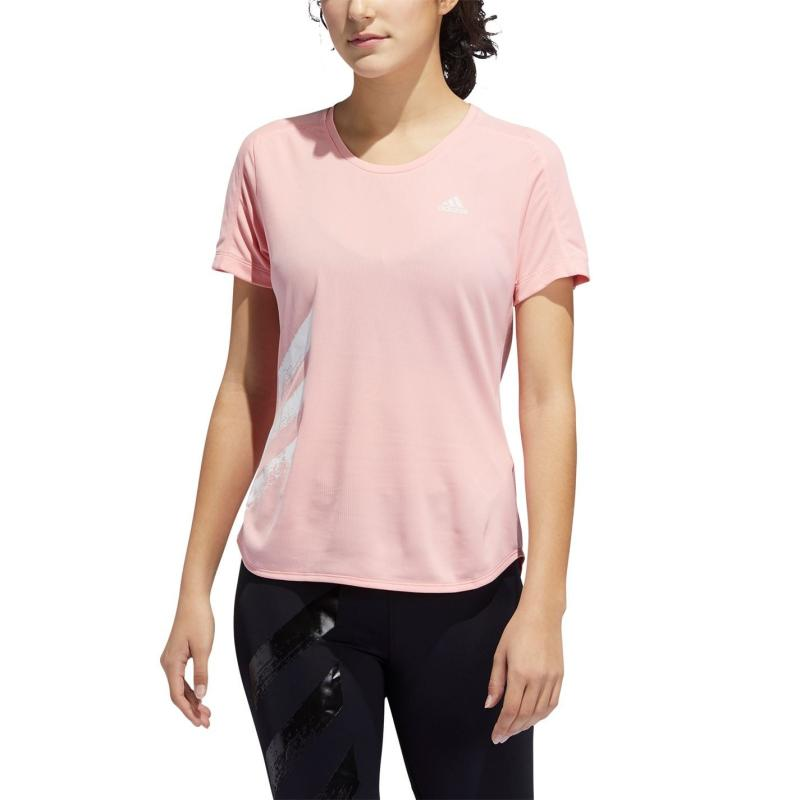 Adidas Womens Run It 3-Stripes T-Shirt Pink