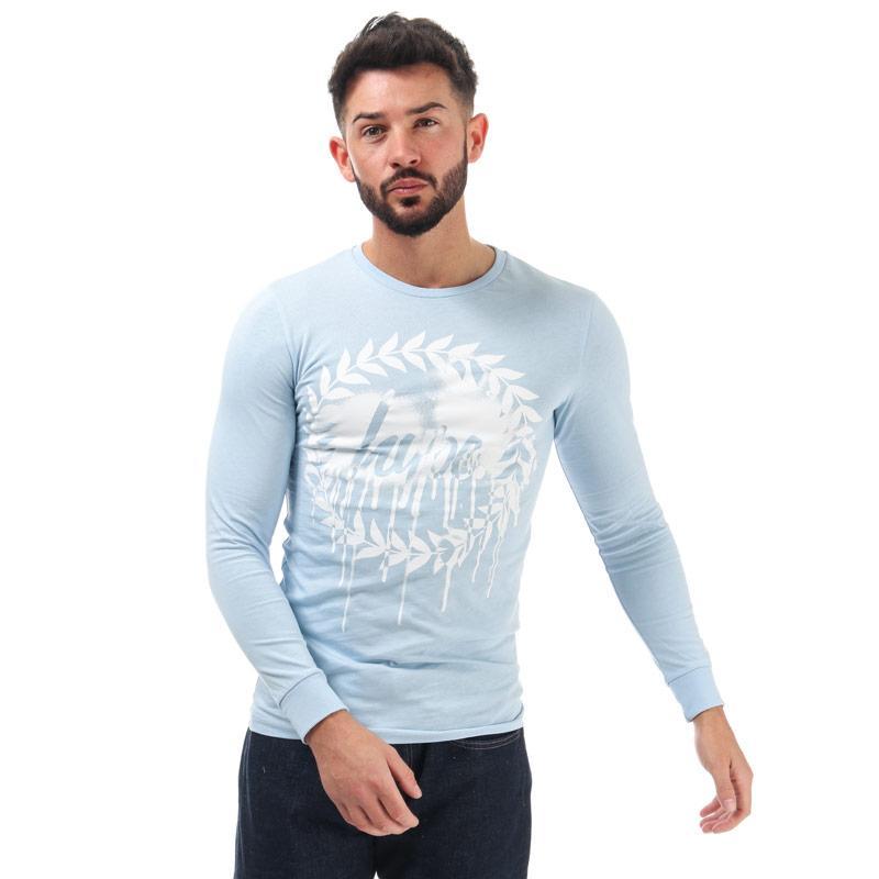 Tričko Hype Mens Long Sleeve Drip Crest T-Shirt Blue-White