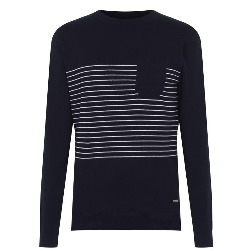 Pierre Cardin Striped Pocket Knit Mens Navy