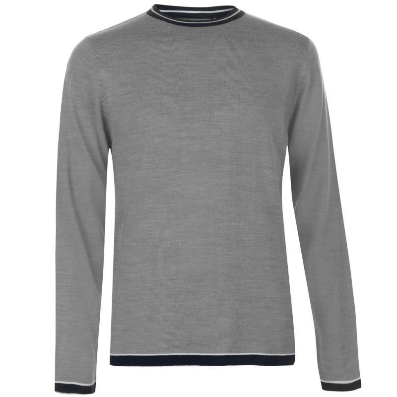 Pierre Cardin Tipped Crew Knit Mens Grey Marl