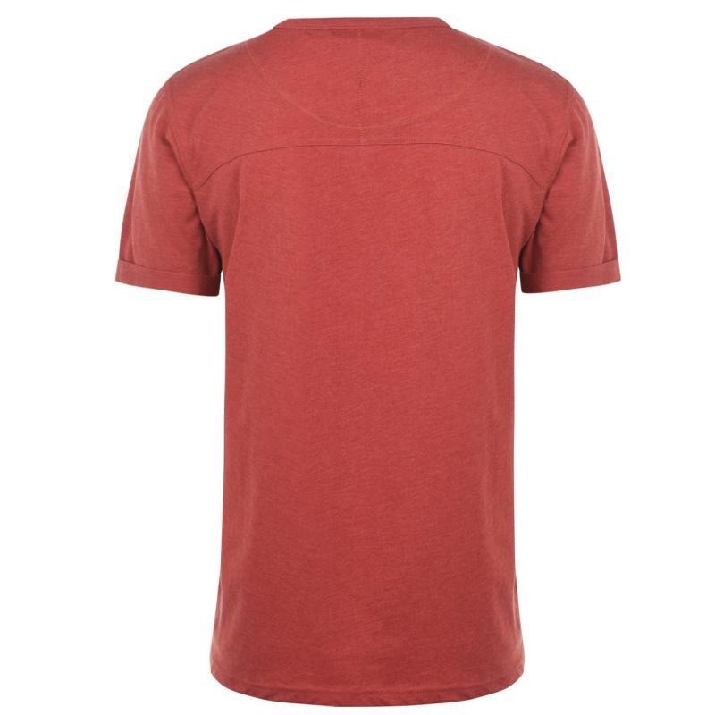 Tričko Firetrap Striding V Neck T Shirt Mens Rust Marl